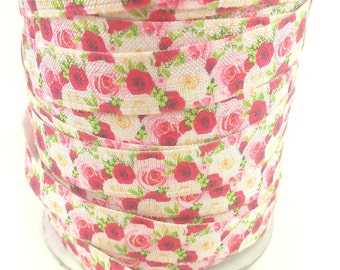 5/8 Bundle of Roses - Fold over elastic - Foldover elastic by the yard