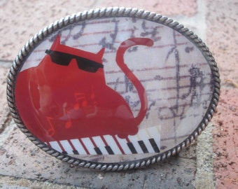 Cat belt buckle  Piano player belt buckle musicians gift mens belt buckle women belt buckle musician Belt Buckle cat lovers accessories