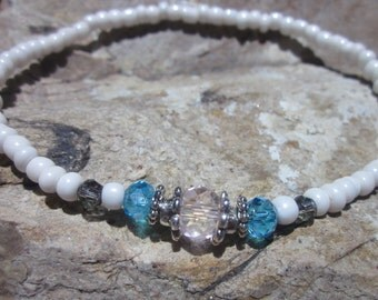 anklet czech faceted glass beaded anklet seed beads ankle bracelet silver pewter beads bohemian custom stretch minimalist yoga beaded anklet