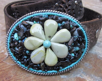 beaded belt buckle turquoise belt buckle olive jade stone flower black obsidian beads Southwestern Bohemian cowgirl OOAK custom belt  buckle