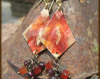 Fiery Merlot Harlequin Brass, Garnet and Carnelian Cluster Earrings