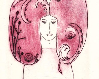 """Original etching """"woman with big hair and ape"""""""