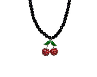 Rhinestone Cherry Necklace - Vintage, Classic, Pinup, Rockabilly