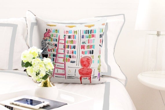 In the Library | Bookish Throw Pillow