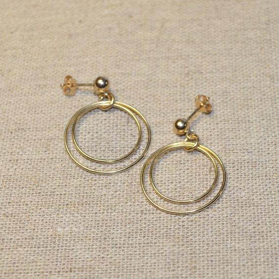 14k Gold Filled Сircles Dangle Earrings - Long Drop Earrings - Gold Dangling Earrings - Stud Drops