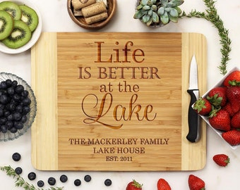 Personalized Cutting Board, Custom Engraved Cutting Board, Lake House Cabin, Housewarming Retirement Vacation, Bamboo Wood --21065-CUTB-001