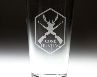 Custom personalized Gone Hunting engraved glass , hunting gift , dad gift , granpa gift , christmas gift , fathers day gift
