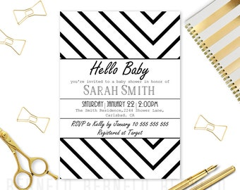 Baby shower invitation, modern baby shower invitation, black,modern, baby shower, printable invitation