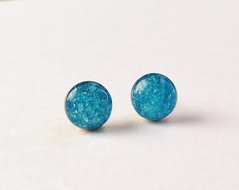 Small Blue Stud Earrings, Glitter & Crush Shell Stud Earrings, Simple Sparkly Blue Stud Earrings, Hypoallergenic, Resin Jewelry, For Her