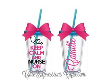 Keep calm and nurse on 16 oz tumbler