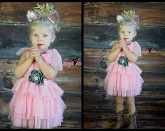 Girls Pink Dress // Chiffon Rosette Dress // FLOWER GIRL DRESS // Wedding Dress // Little Girls Dresses