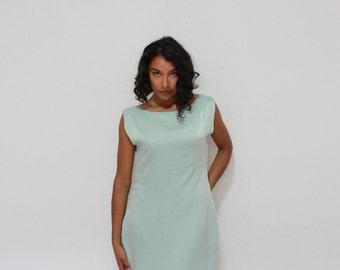 Mint Silk tie back dress knee length