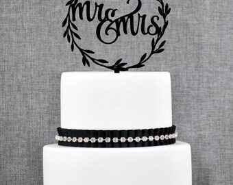 Rustic Wedding Cake Toppers, Rustic Mr and Mrs Topper, Laurel wedding cake topper with Mr and Mrs with Choice of Color and Glitter (T280)