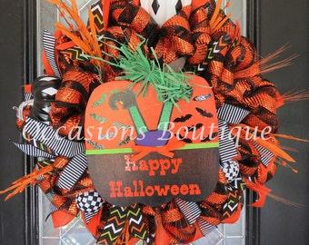 Halloween Wreath, Halloween Door Hanger, Fall Wreath, Front door wreath, Large Wreath, Deco Mesh Wreath, Wreath for Door