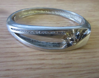 Sterling Silver Rhinestone Bangle Cuff Bracelet 49g
