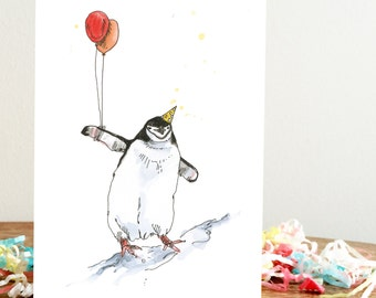 Party Penguins Two Balloons A6 Greetings Card