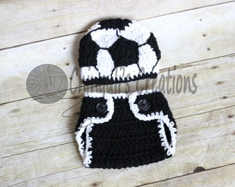 Soccer Boy's Crochet Beanie Hat Crochet Soccer Hat and Diaper Cover Set Sport Hat Baby Boy Baby Girl Soccer Hat