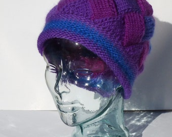Womens Knit Hat, Hand Knit Hat, Winter Hat, Purple and Blue Hat