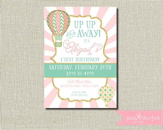 first birthday invitation up up and away hot air balloon. Black Bedroom Furniture Sets. Home Design Ideas