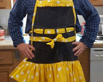 Yellow Ruffles and Black Denim Kitchen Apron