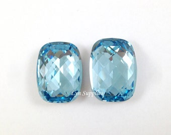 4565 AQUAMARINE 18x13mm 2pcs Swarovski Crystal Baguette Fancy Stone No Hole