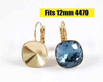Gold Cushion Cut Earrings Settings 1 Pair Fit Swarovski Crystal 4470 12x12mm Glue On Nickel Free Leverback Earring Base