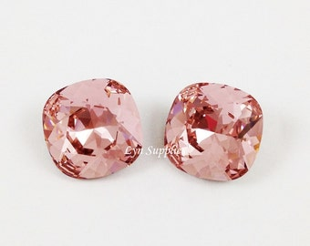 4470 VINTAGE ROSE 12mm Swarovski Crystal Fancy Stone Cushion Cut Blush Pink