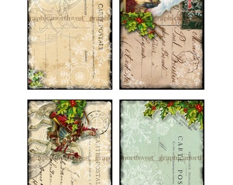 Instant download high resolution digital download Christmas Postcards and Envelopes