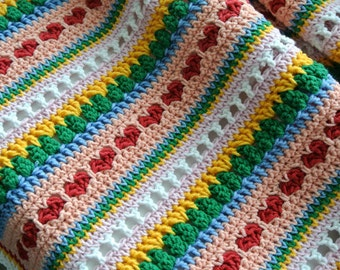 Mixed Stitch Blanket Pattern,Heart Blanket Crochet Pattern, Crochet Blanket Pattern, Crochet Baby Blanket, Crochet Afghan,  Stripe Blanket