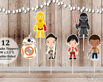 Space Wars Force Party - Set of 12 Assorted Space Wars Force Inspired Double Sided Cupcake Toppers