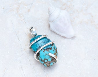 Natural Turquoise Pendant, Sterling Silver Wire Wrapped Turquoise Nugget, Silver Cage Turquoise Pendant, Chakra Pendant, Turquoise Necklace