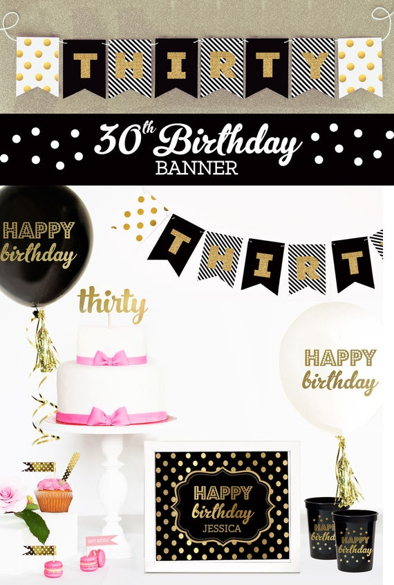 30th Birthday Banner 30th Birthday Decor 30th Birthday