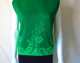 Vintage 60s/70s Bright Kelly Green Floral Sweater Vest