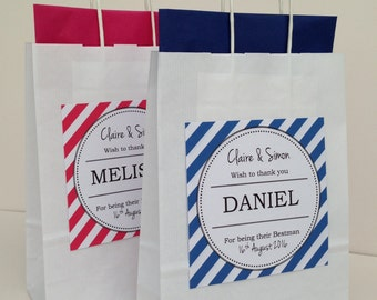 Personalised Wedding Favour Gift Bag Bold Stripes Style
