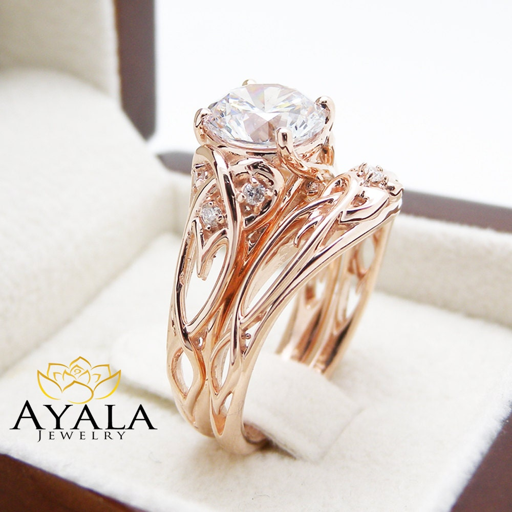 14K Rose Gold Unique Engagement Rings 2 Carat Moissanite Ring
