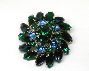 Blue and Green Rhinestone Brooch - Vintage, Juliana Style, Silver Tone, Round and Navette Rhinestone Pin