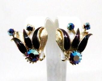 Blue and Purple Earrings - Vintage, Gold Tone, Purple Enamel, Blue Rhinestone Floral Clip-on Earrings