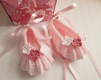 Ballet Slippers, Pink Baby Ballet Pumps, Baby Ballet Shoes, Hand Knitted, Baby Photo Prop, Baby Reveal, Baby Shower Gift, Handmade Gift