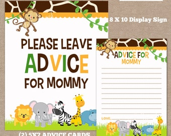 INSTANT DOWNLOAD-Advice Cards, Advice for Mommy, Baby Shower Advice Cards, Jungle Advice Cards, Jungle, Safari, #0016