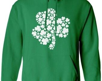 Patterned Shamrock Hoodie Sweatshirt