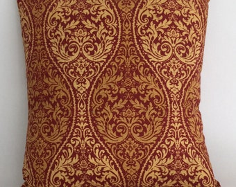 "Classical Medallion Design Pillow Cover, Shades of Rust with Gold Detail, 18"" Toss Pillow, Decorative Envelope Throw Pillow Cover"