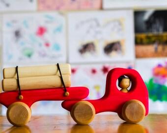 Red Logging truck, wooden truck by Atelier Cheval de bois