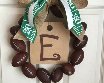 Football wreath with initial