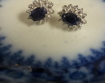 Estate Sterling Silver 925 1ct Natural Blue Sapphire Genuine Diamond Earrings Studs Stud
