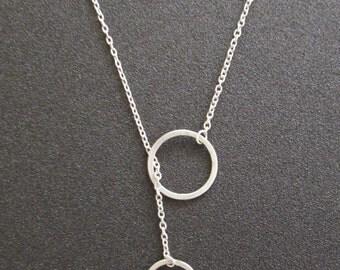 Silver Circles Lariat Necklace, Metalsmith Geometry Minimal Y Jewelry