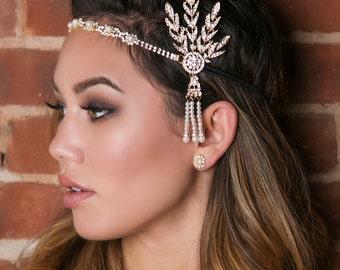 Gold Gatsby Headpiece, Gatsby Wedding, Wedding Hair Accessories, Gatsby Headband, Bridal Headband, Great Gatsby Party, Gold Headband, H181
