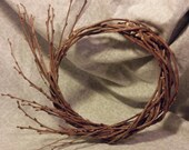 "Mulberry Twig Wreath With Asymmetrical Spray of Buds 9"" plus Craft Supply Handmade Natural Floral Material"