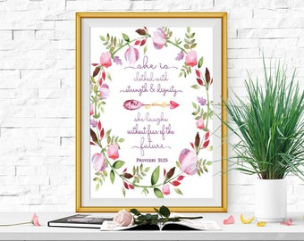 She is clothed with strength and dignity Print Pink, purple Christian nursery art Proverbs 31:25 Floral Watercolor Bible verse printable