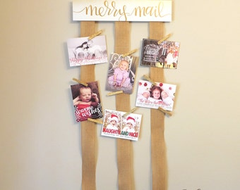 Merry Mail Christmas Card Display, Holiday Decor | Photo Cards Holder, Rustic Decoration, Wall Hanger Home Decor, Wood Sign, Christmas Gift