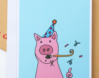 Party Hat Pig Birthday/Celebration Illustration A6 Greetings Card
